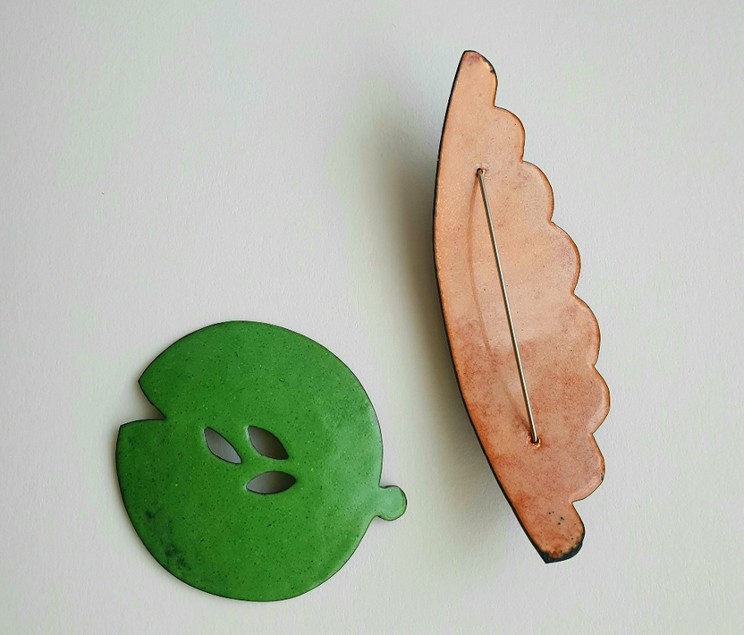 Sara Barker - Enamelled Copper Brooches