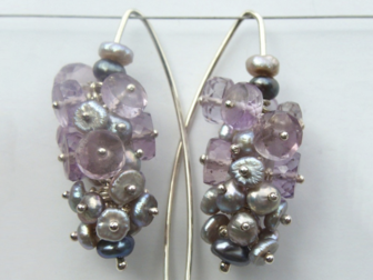 Fleur Kerry-Wiseman - Silver, amethyst and black/silver fresh water pearl large cluster earrings