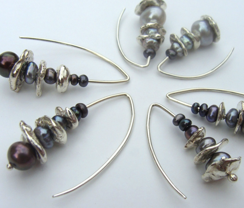 Fleur Kerry-Wiseman - Silver, garnet and white fresh water pearl drop earrings