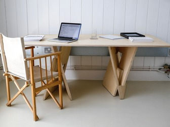 Tim Germain - Trestle Table in birch ply, inspired by Quadror children's building blocks