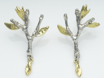 Holly Belsher MA (RCA) - Branch Earstuds, silver with 18ct gold leaves