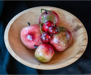 Dennis Hales - fruits in a sycamore bowl